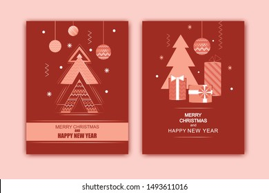 Happy New Year and Merry Christmas card  rose gold and red invitation. Geometric art deco style design with holiday tree and decoration. Greeting card, flyer, poster, party, brochure.