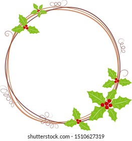 Happy New Year & Merry Christmas decoration with wreath. Gift card with Christmas wreath and garland frame. Green holly leaf and red berries with vine and grape mustache, decorative border ornamental