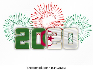 Happy New Year and Merry Christmas. 2020 New Year background with national flag of Algeria and fireworks. Vector illustration.