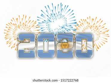 Happy New Year and Merry Christmas. 2020 New Year background with national flag of Argentina and fireworks. Vector illustration.