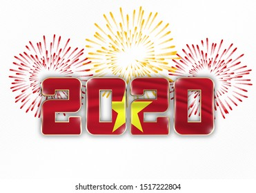 Happy New Year and Merry Christmas. 2020 New Year background with national flag of Vietnam and fireworks. Vector illustration.
