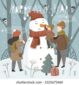 Happy New Year and Merry Christmas! Cute vector illustration of a family in the forest on the nature before the holiday. Mother, father and baby sculpt a snowman. Winter drawing for card, poster