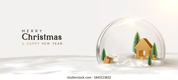 Happy New Year and Merry Christmas banner. Xmas Snowball with trees and house. Glass snow globe realistic 3d design. Festive Christmas object. Holiday poster, header for website, greeting card, flyer