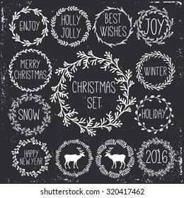 Happy New Year and Merry Christmas wreath doodle set. Greeting card with a festive wreath