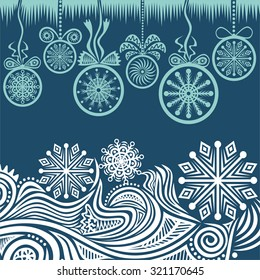 Happy new year merry christmas card beautiful winter pattern background vector illustration