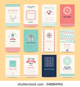 Happy New Year, Merry Christmas, Family holidays greeting card templates. Artistic collection with hand drawn ethnic textures, knitted ornaments, thin line icons, geometric stylized illustrations.