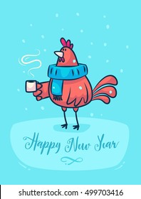 Happy New Year and Merry Christmas. Rooster holding a cup of coffee and wearing a scarf. Lettering Composition and a cock. Holiday Vector Illustration.