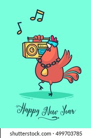 Happy New Year and Merry Christmas 2017. Rooster holding a retro tape recorder and dancing to the music. Lettering Composition and a cock. Holiday Vector Illustration.
