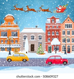 happy new year and merry Christmas winter old town street with trees and car. Santa Claus with deers in sky above the city. concept for greeting and postal card, invitation, template