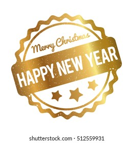 Happy New Year Merry Christmas rubber stamp award vector gold on white background