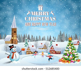 Happy new year and merry Christmas landscape card design with snowman and christmas tree. Winter scene with skating children. Children boy and girl on the winter ice-skating rink. vector illustration