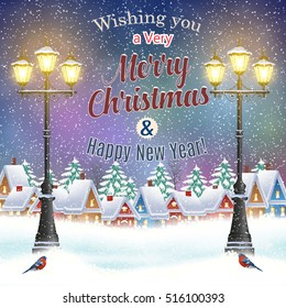 happy New year and merry Christmas winter village night landscape background. Christmas greeting type design with vintage street lantern. concept for postal card, invitation, template