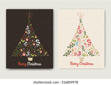 Happy New Year and Merry Christmas tree vector card with happy funny holiday