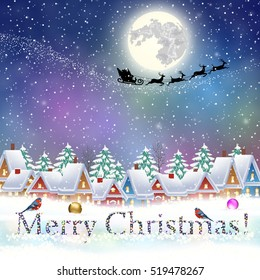 happy new year and merry Christmas winter village with trees. Santa Claus with deers in sky above the city. concept for greeting and postal card, invitation, template, vector illustration
