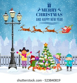 happy new year and merry Christmas Winter Cityscape with luminous street lantern. concept for greeting and postal card, invitation, template, kids decorating a Christmas tree.