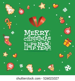 Happy New Year, Merry Christmas greeting card