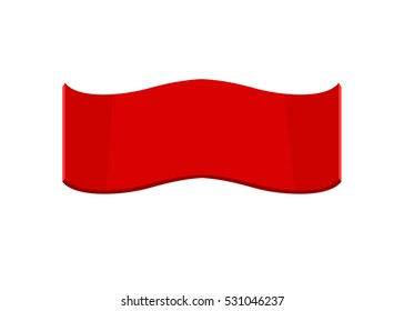 Happy New Year and Merry Christmas red empty ribbon or banner template with space for greetings text. Simple and Flat style vector illustration isolated on white
