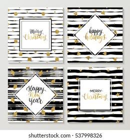 Fröhliches neues Jahr und fröhliche Weihnachtskarten-Set, fröhlicher Feiertag Goldener Text auf gestreiftem Hintergrund mit goldenem glänzendem Stern, Polka-Punkt, Dreieck, Rhomb, Vektorgrafik-Weihnachtsbriefe für Urlaubskarte, Poster, Banner