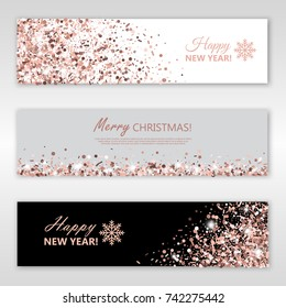 Happy New Year and Merry Christmas Rose Gold Glowing banners set. Vector illustration. All isolated and layered