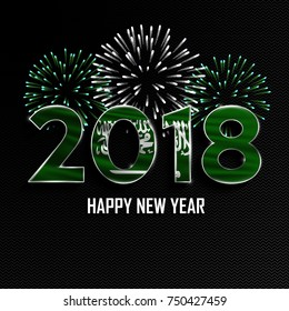 Happy New Year and Merry Christmas. 2018 New Year background with national flag of Saudi Arabia and fireworks. Vector illustration.