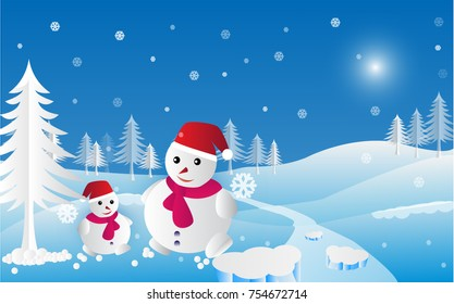 Happy new year and merry Christmas with Snowman vector illustration. paper art concept.