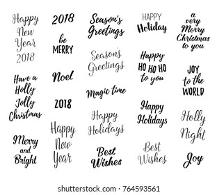 Happy New year and Merry Christmas hand lettering set for greeting cards. Vector winter holiday wishes, overlays.