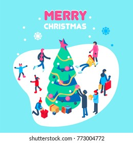Happy new year and merry christmas card with winter outdoor leisure activities. People playing in snow, shopping, decorating christmass tree, ice skating, etc. Isometric vector illustration.