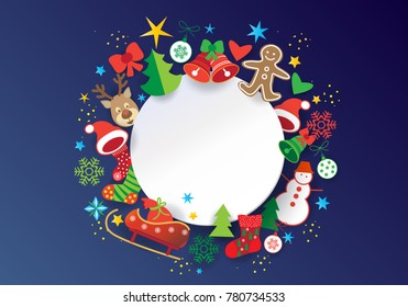 Happy New Year and Merry Christmas Winter Holiday greeting card template, with white round frame for text, christmas decoration, ornament, symbols, cartoon background.