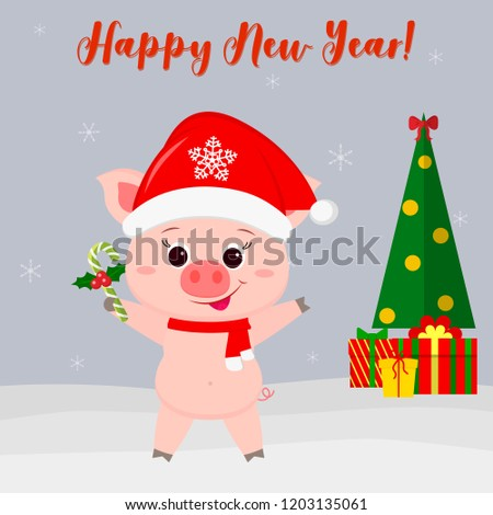 happy new year and merry christmas greeting card cute pig in santas hat and scarf