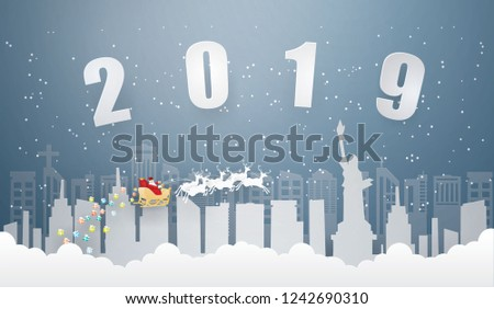 happy new year and merry christmas with santa claus and reindeer on the sky coming to