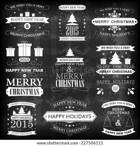happy new year merry christmas and happy holidays vintage retro labels set vector illustration