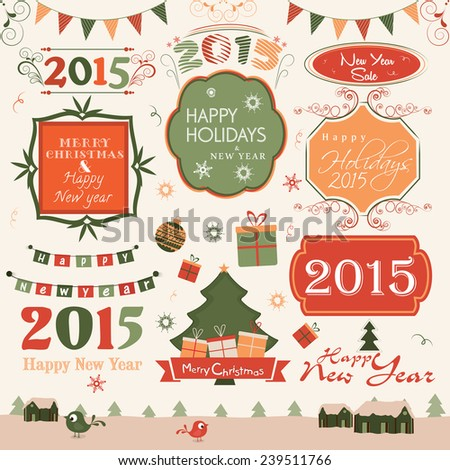 happy new year and merry christmas celebration label sticker or tag with collection of ornaments