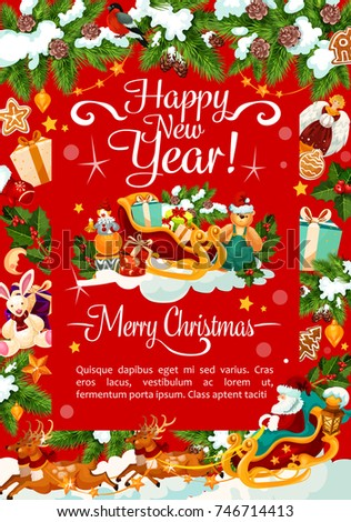 happy new year and merry christmas wish greeting card for winter holidays celebration vector santa
