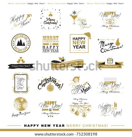 Happy New Year Merry Christmas Set Stock Vector Royalty Free