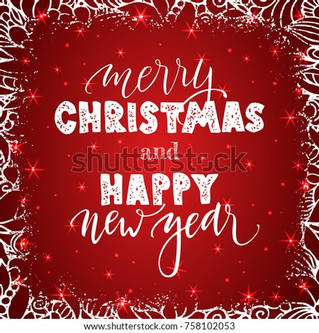 happy new year and merry christmas lettering on red background with sparkles greeting card design