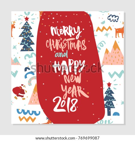 happy new year and merry christmas background with santa and christmas tree hipster winter greeting