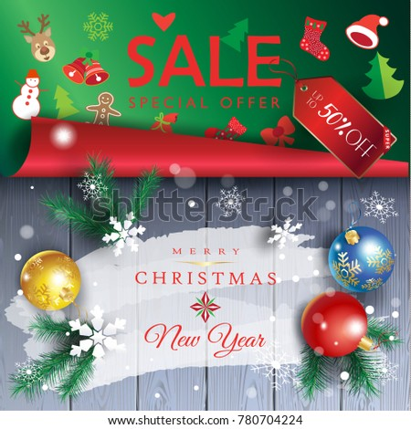 happy new year and merry christmas winter holiday sale gift card invitation blank page