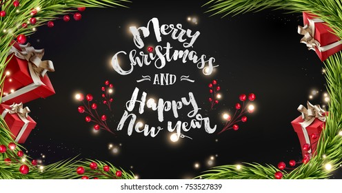 Happy New Year and Merry christmass background with presents, shining golden tree Baubles and berries.