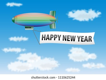 Happy new year message on the banner drawn by a colorful blimp in flight.