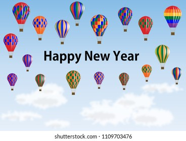 Happy new year message surrounded by colorful balloons
