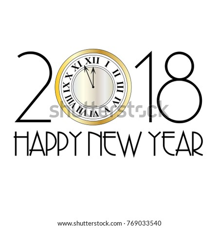 happy new year metallic clock art deco vector graphic