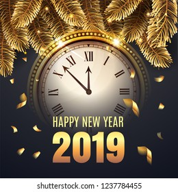 Happy New Year Midnight 2019 Gold Clock countdown to twelve O' Clock. Elegant Christmas illustration with gold fir-tree, black colors and confetti. Rich and luxury congratulation. Vector illustration