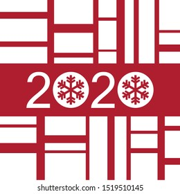 Happy New Year minimalist greeting card 2020