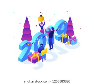 Happy New Year - modern colorful isometric vector illustration with 2019 number on white background. A composition with male, female characters decorating their workplace, presents, Christmas trees