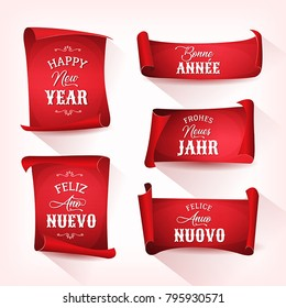 Happy New Year In Multilanguage On Red Parchments Illustration of a set of happy new year wishes, with lettering and ornamental text in multiple languages, in french, german, spanish and italian