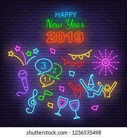 happy new year neon icons, vector neon glow on dark background