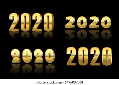 Happy New Year number set. Gold 3D number 2020 isolated on black background. Bright golden design greeting card, Christmas banner, holiday celebration, decoration poster, calendar Vector illustration