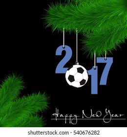 Happy New Year and numbers 2017 and soccer ball as a Christmas decorations hanging on a Christmas tree branch on a black background. Vector illustration