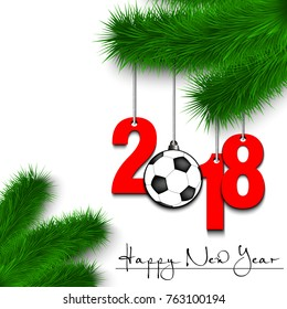 Happy New Year and numbers 2018 and soccer ball as a Christmas decorations hanging on a Christmas tree branch on a white background. Vector illustration