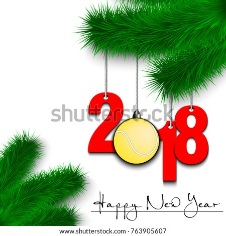 Happy New Year Numbers 2018 Tennis Stock Vector (Royalty Free ...